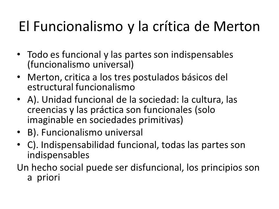El Funcionalismo y la crítica de Merton