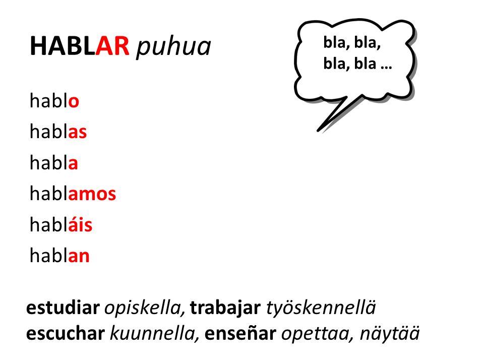 HABLAR puhua hablo hablas habla hablamos habláis hablan