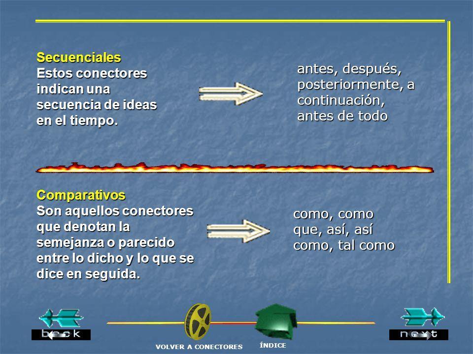Estos conectores indican una secuencia de ideas en el tiempo.