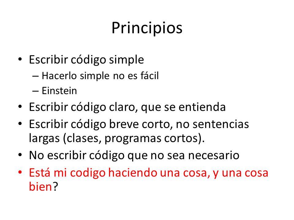 Principios Escribir código simple