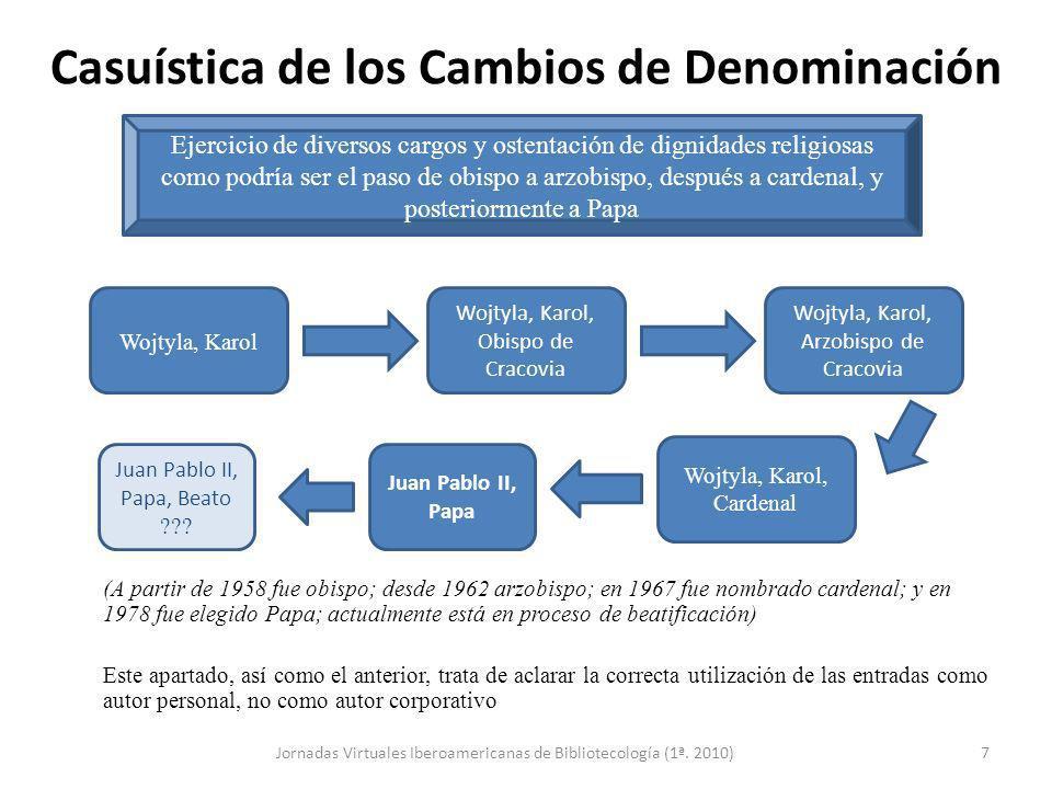 Casuística de los Cambios de Denominación