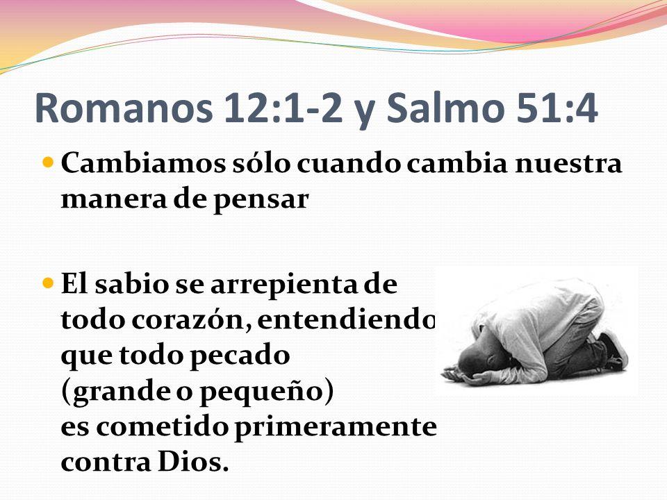 Romanos 12:1-2 y Salmo 51:4 Cambiamos sólo cuando cambia nuestra manera de pensar.