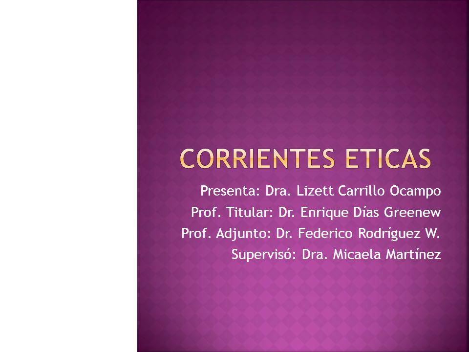 Corrientes eticas Presenta: Dra. Lizett Carrillo Ocampo