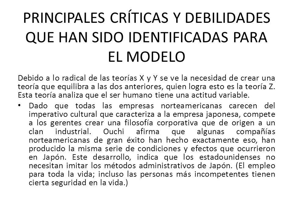 PRINCIPALES CRÍTICAS Y DEBILIDADES QUE HAN SIDO IDENTIFICADAS PARA EL MODELO