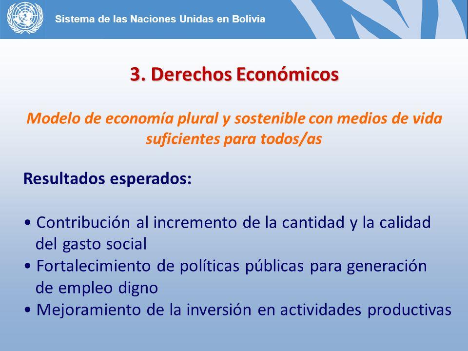 3. Derechos Económicos Resultados esperados: