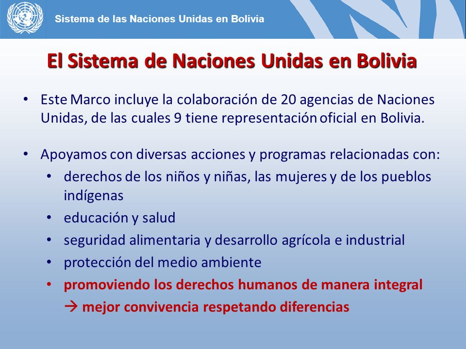 El Sistema de Naciones Unidas en Bolivia