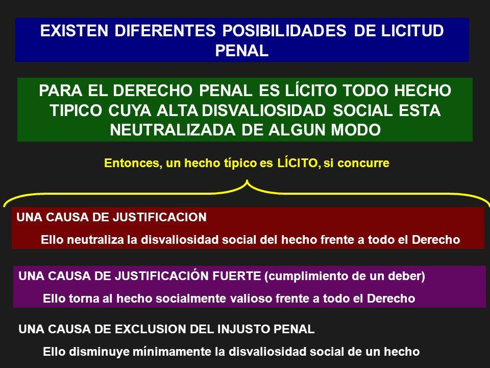 EXISTEN DIFERENTES POSIBILIDADES DE LICITUD PENAL