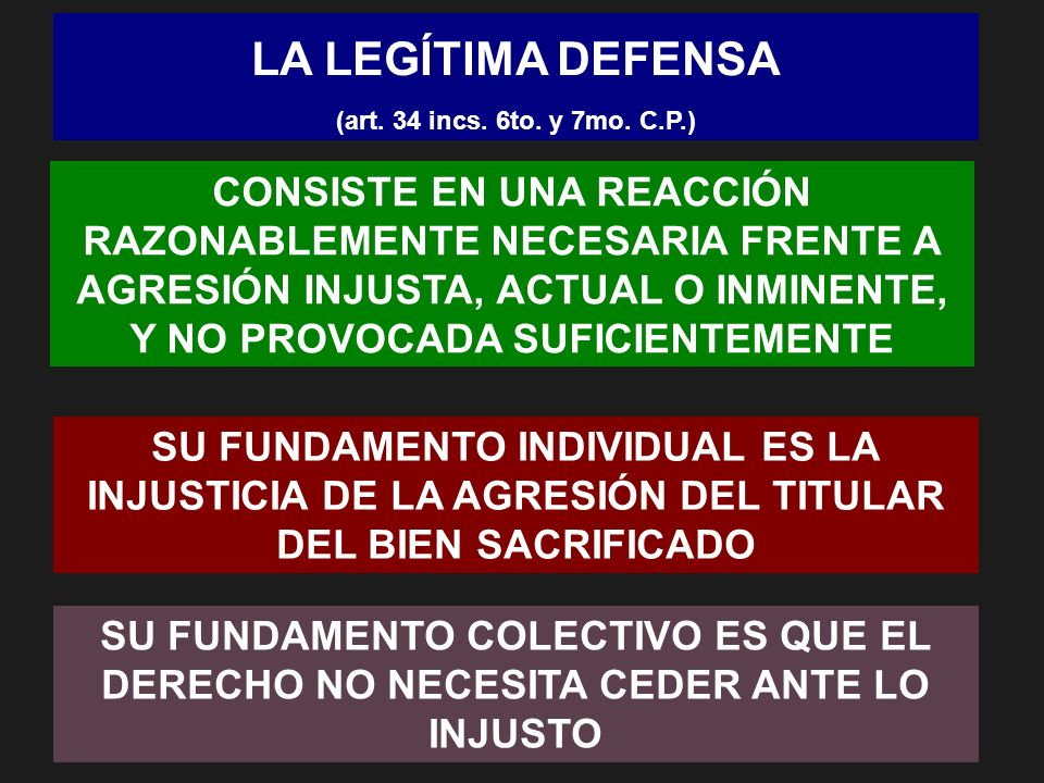 LA LEGÍTIMA DEFENSA(art. 34 incs. 6to. y 7mo. C.P.)