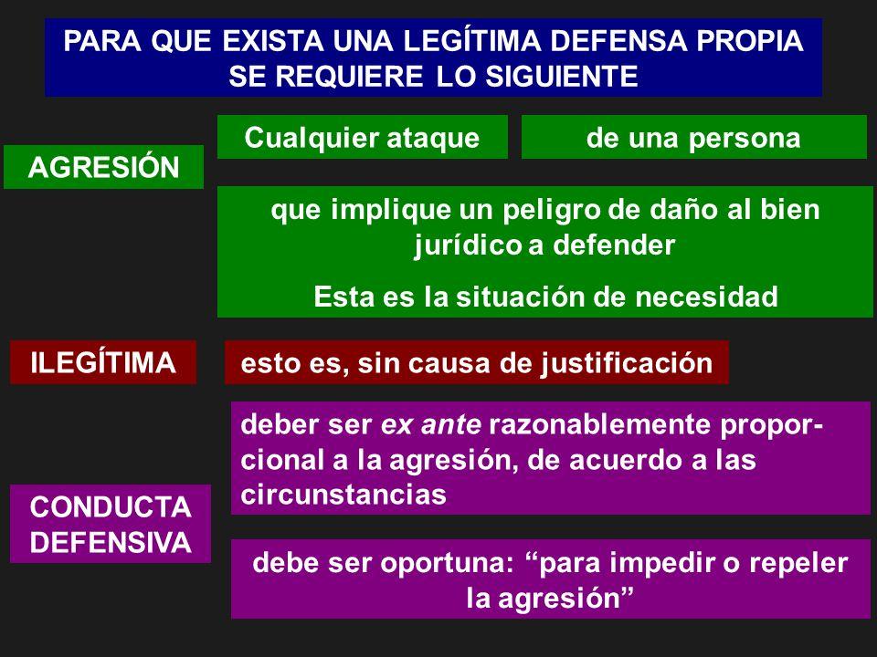 PARA QUE EXISTA UNA LEGÍTIMA DEFENSA PROPIA SE REQUIERE LO SIGUIENTE