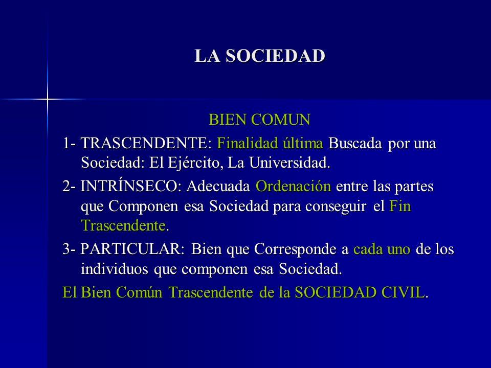 LA SOCIEDAD BIEN COMUN. 1- TRASCENDENTE: Finalidad última Buscada por una Sociedad: El Ejército, La Universidad.