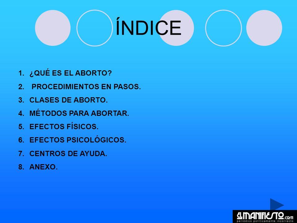 ÍNDICE ¿QUÉ ES EL ABORTO PROCEDIMIENTOS EN PASOS. CLASES DE ABORTO.