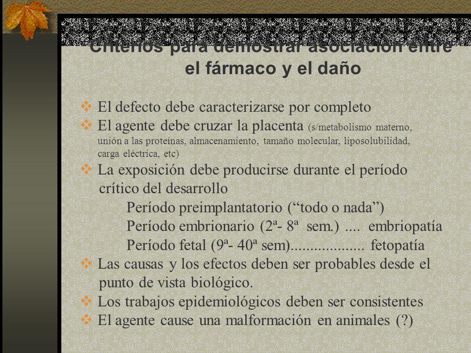 Criterios para demostrar asociación entre el fármaco y el daño