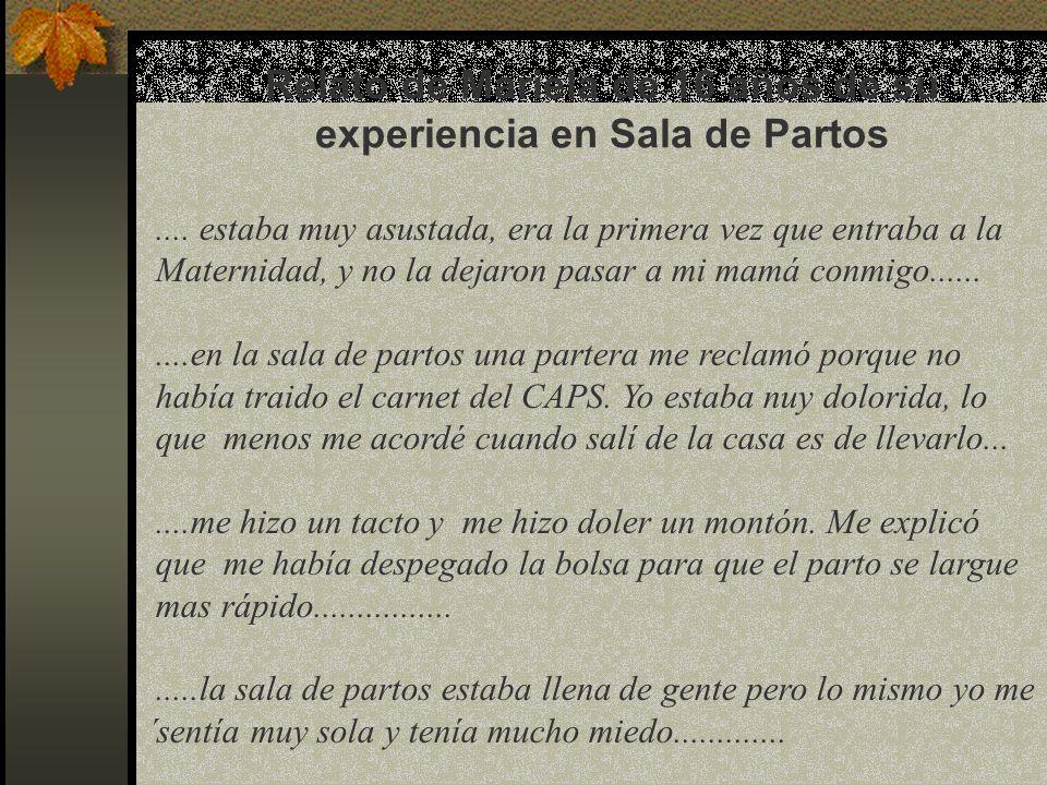 Relato de Mariela de 16 años de su experiencia en Sala de Partos