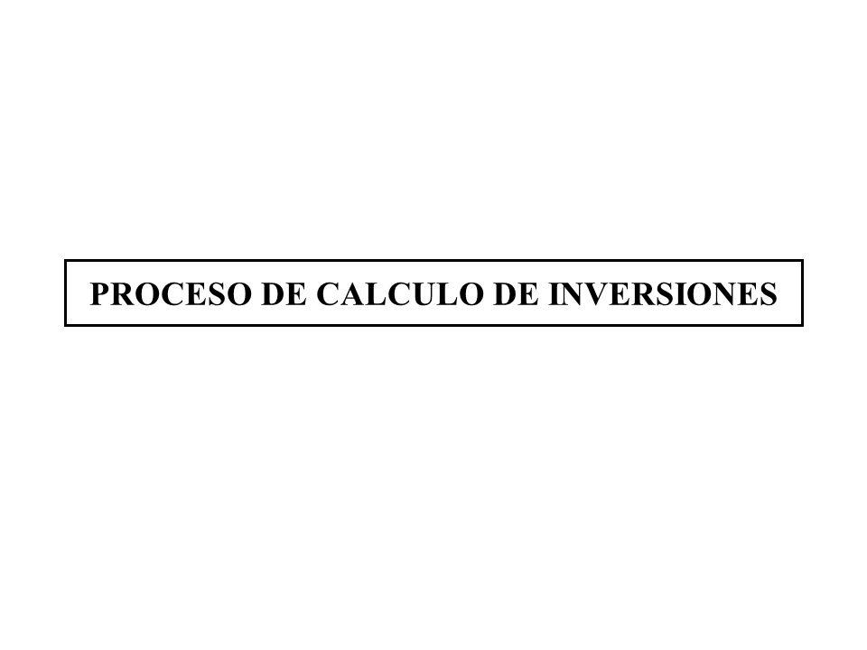 PROCESO DE CALCULO DE INVERSIONES