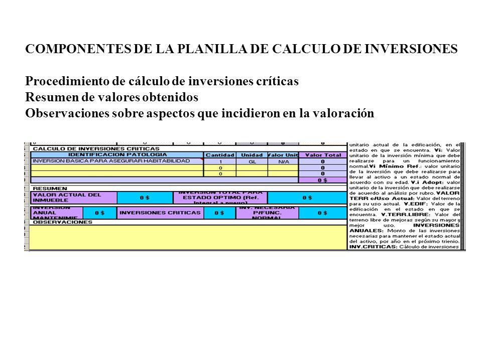 COMPONENTES DE LA PLANILLA DE CALCULO DE INVERSIONES Procedimiento de cálculo de inversiones críticas Resumen de valores obtenidos Observaciones sobre aspectos que incidieron en la valoración