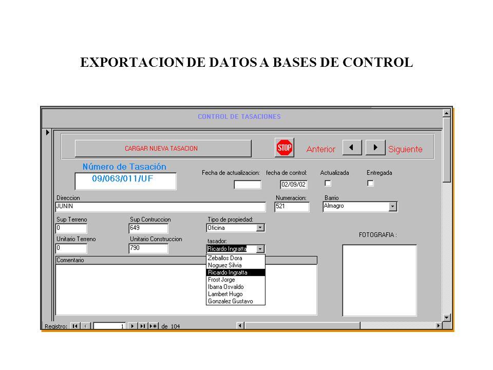 EXPORTACION DE DATOS A BASES DE CONTROL