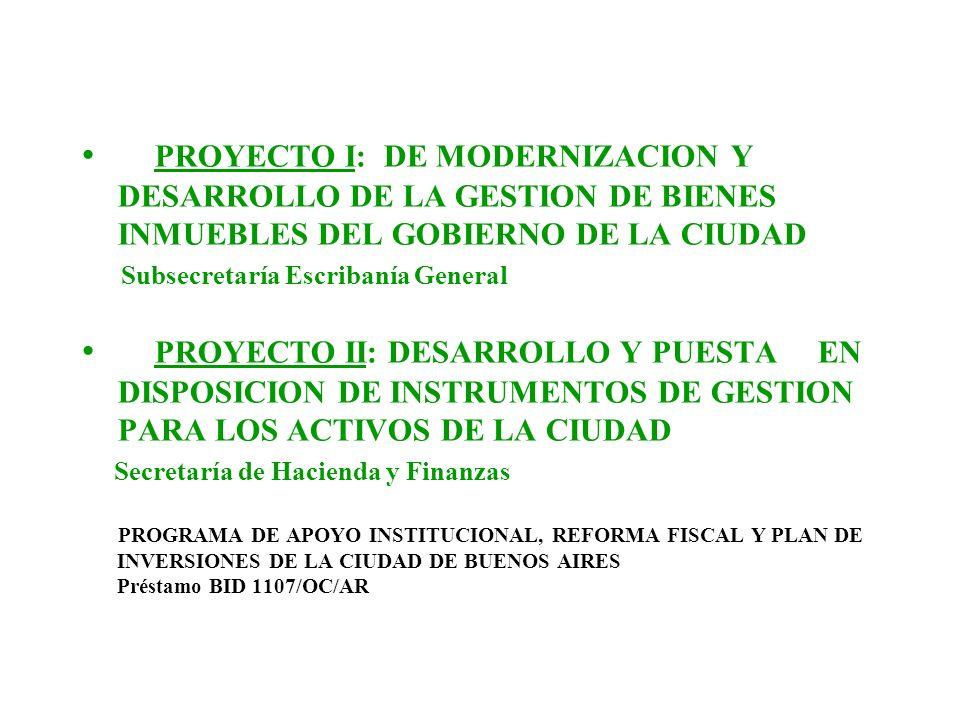 PROYECTO I: DE MODERNIZACION Y DESARROLLO DE LA GESTION DE BIENES INMUEBLES DEL GOBIERNO DE LA CIUDAD