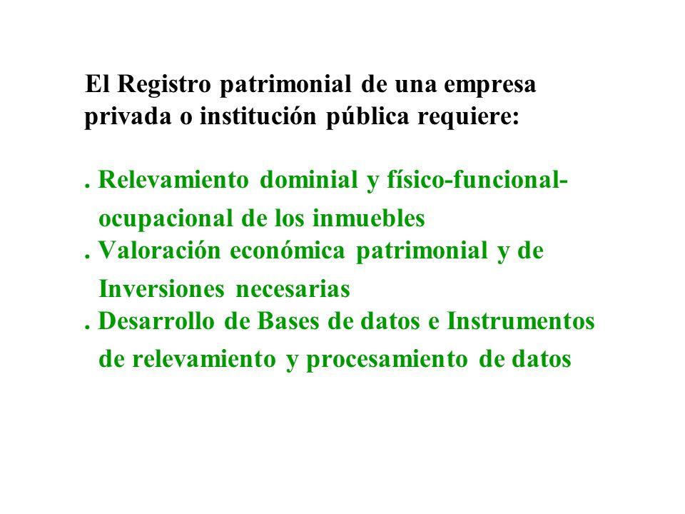 El Registro patrimonial de una empresa privada o institución pública requiere: . Relevamiento dominial y físico-funcional-