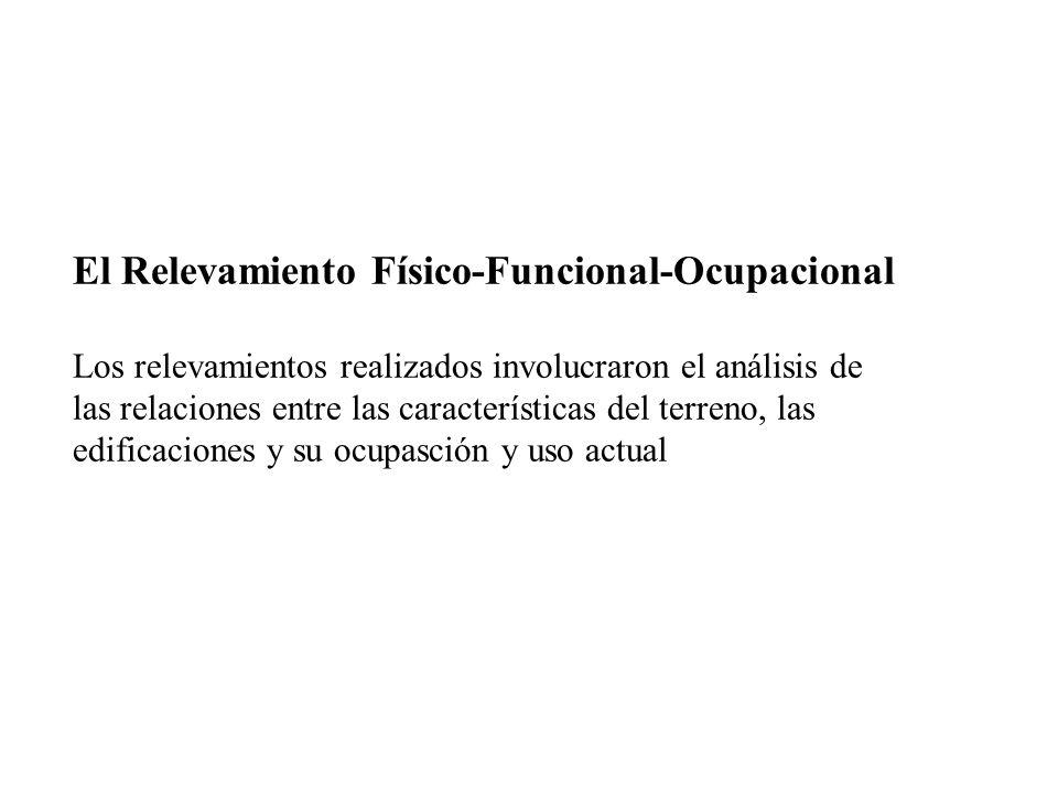 El Relevamiento Físico-Funcional-Ocupacional Los relevamientos realizados involucraron el análisis de las relaciones entre las características del terreno, las edificaciones y su ocupasción y uso actual