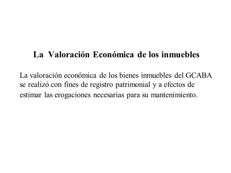 La Valoración Económica de los inmuebles La valoración económica de los bienes inmuebles del GCABA se realizó con fines de registro patrimonial y a efectos de estimar las erogaciones necesarias para su mantenimiento.
