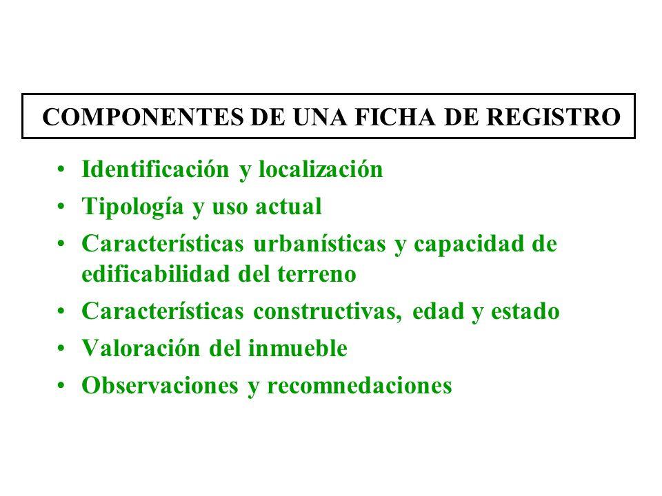 COMPONENTES DE UNA FICHA DE REGISTRO