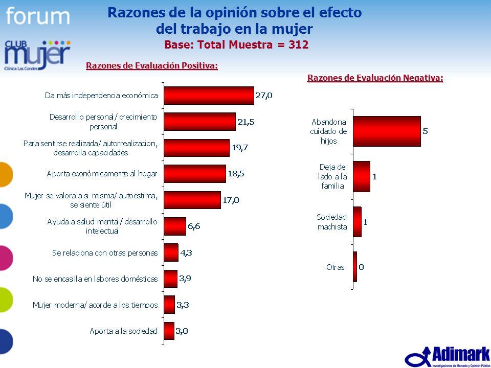 Razones de la opinión sobre el efecto del trabajo en la mujer Base: Total Muestra = 312