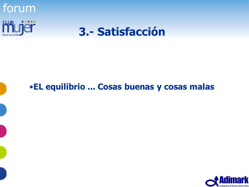 3.- Satisfacción EL equilibrio ... Cosas buenas y cosas malas