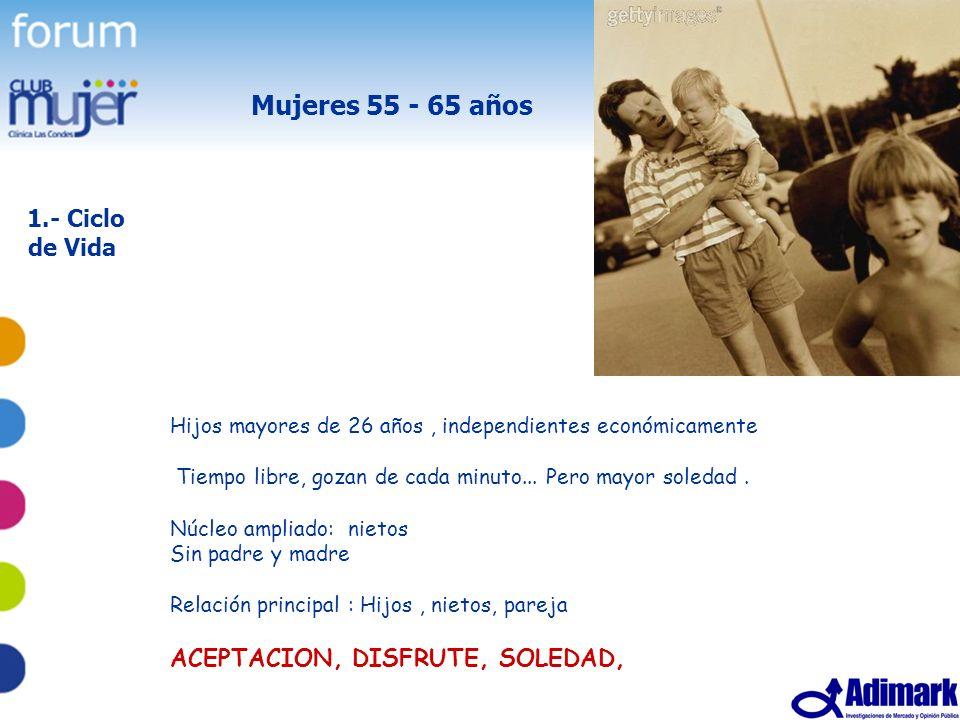 Mujeres 55 - 65 años 1.- Ciclo de Vida ACEPTACION, DISFRUTE, SOLEDAD,