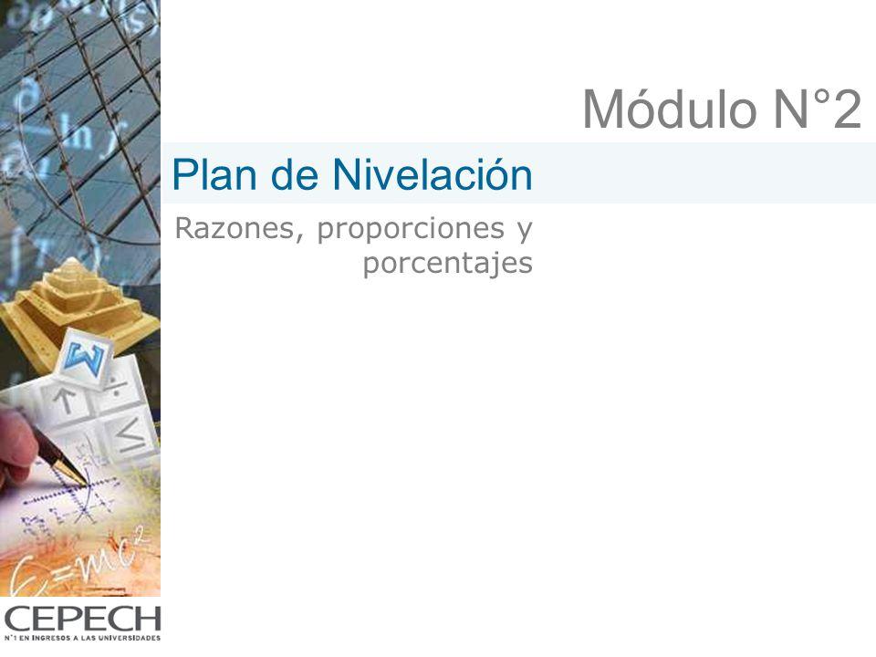 Módulo N°2 Plan de Nivelación Razones, proporciones y porcentajes