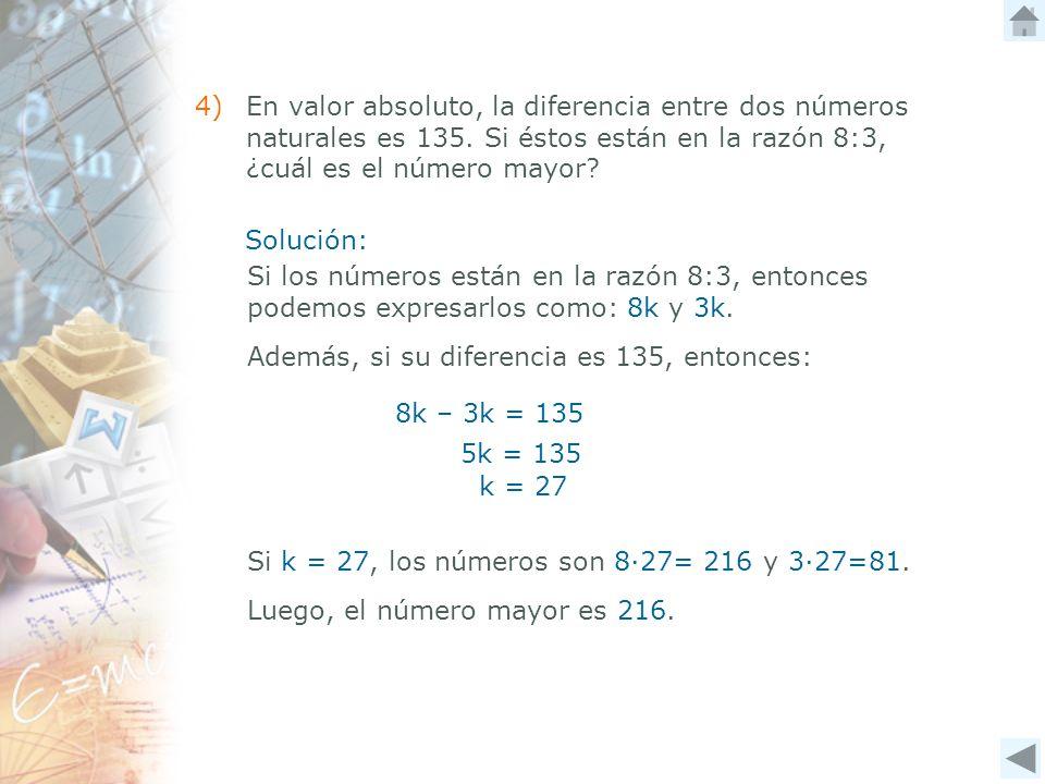4). En valor absoluto, la diferencia entre dos números