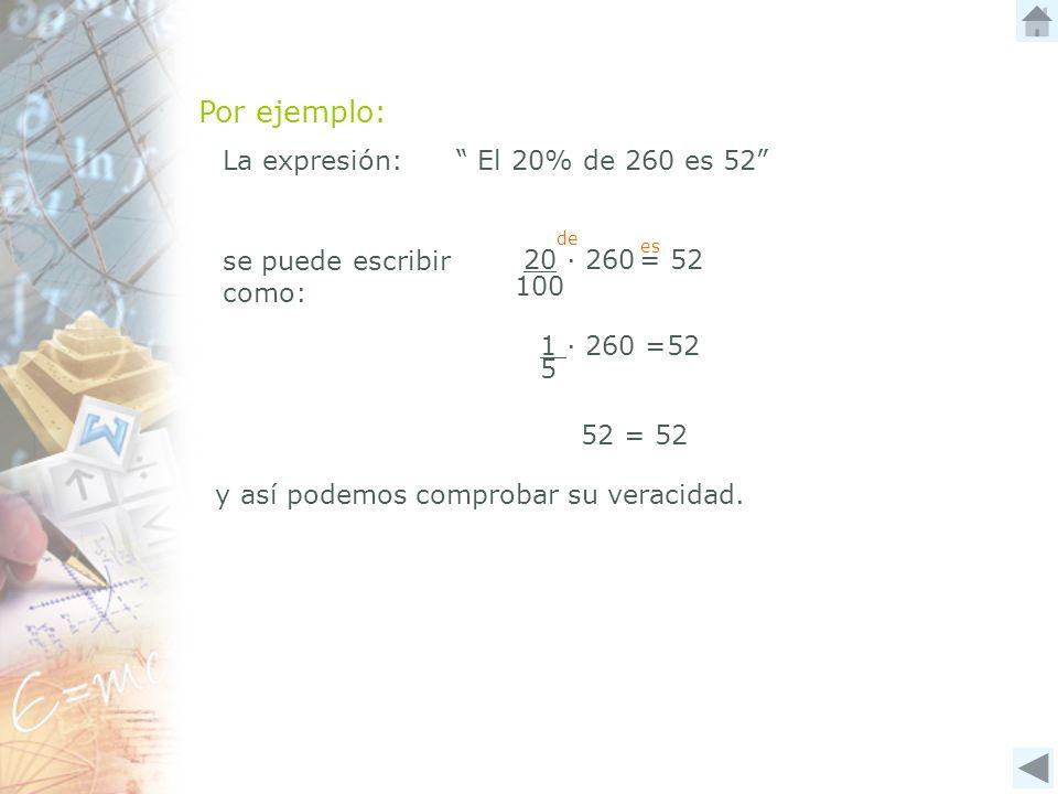Por ejemplo: La expresión: El 20% de 260 es 52 100 20 ∙ 260 = 52