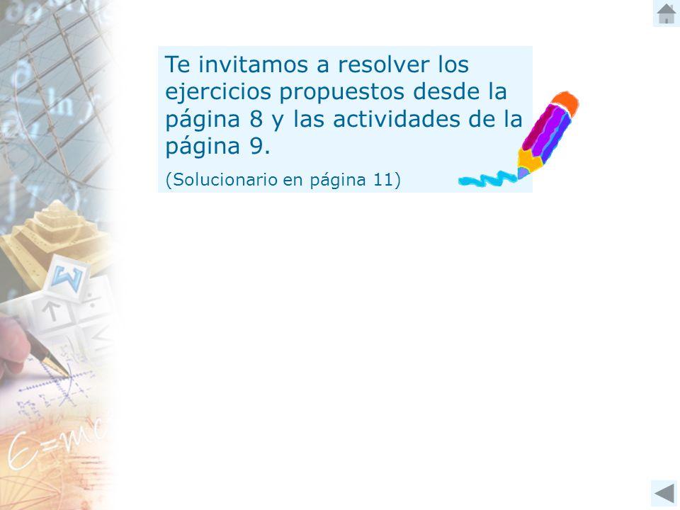 Te invitamos a resolver los ejercicios propuestos desde la página 8 y las actividades de la página 9.