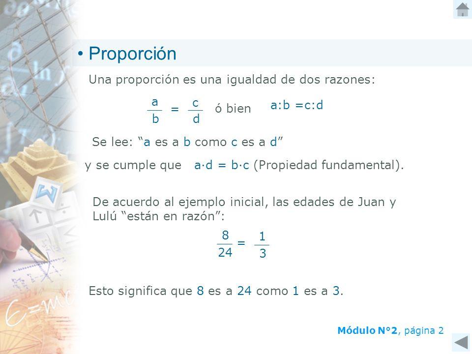 Proporción Una proporción es una igualdad de dos razones: = a b c d