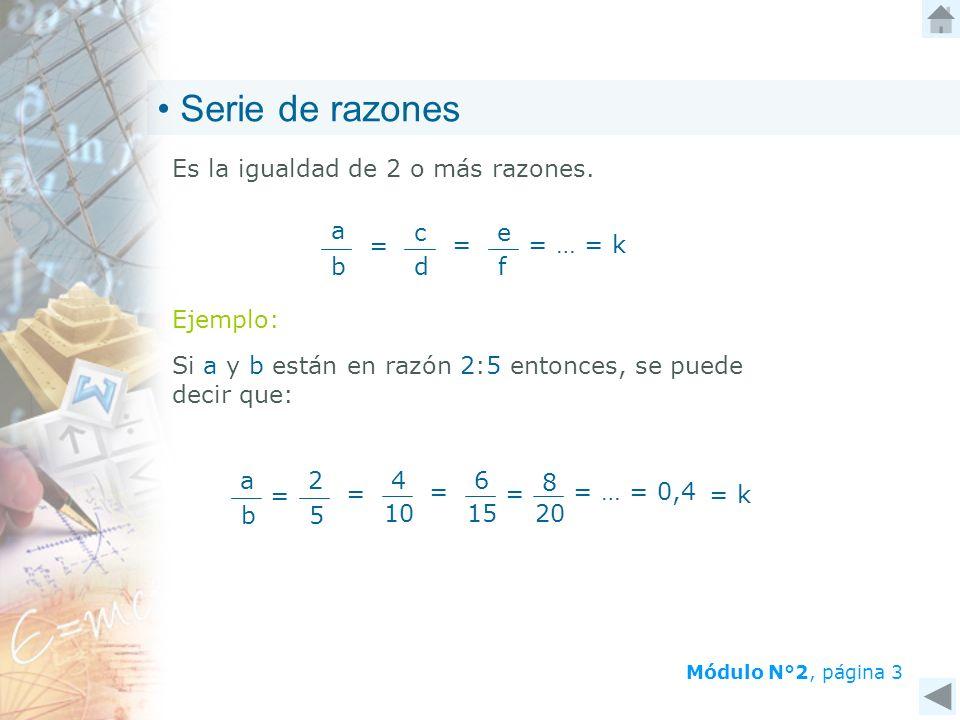 Serie de razones Es la igualdad de 2 o más razones. b a = c d f e
