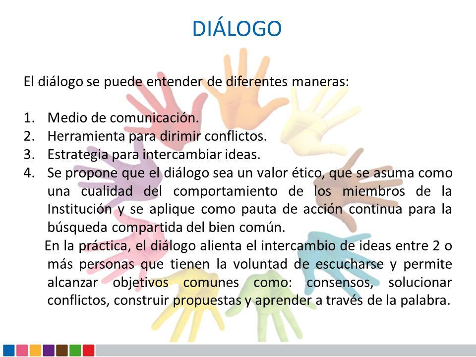 DIÁLOGO El diálogo se puede entender de diferentes maneras:
