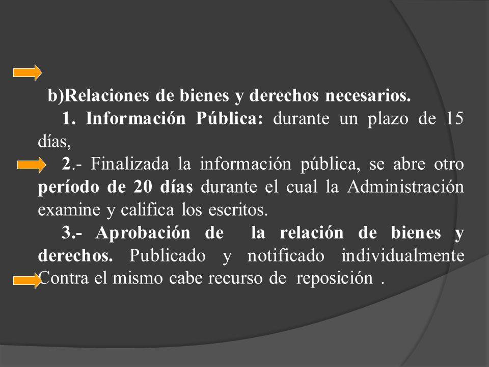 b)Relaciones de bienes y derechos necesarios.
