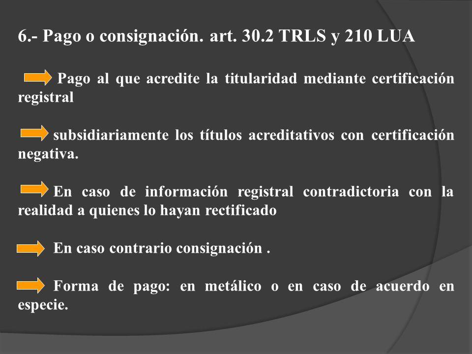 6.- Pago o consignación. art. 30.2 TRLS y 210 LUA
