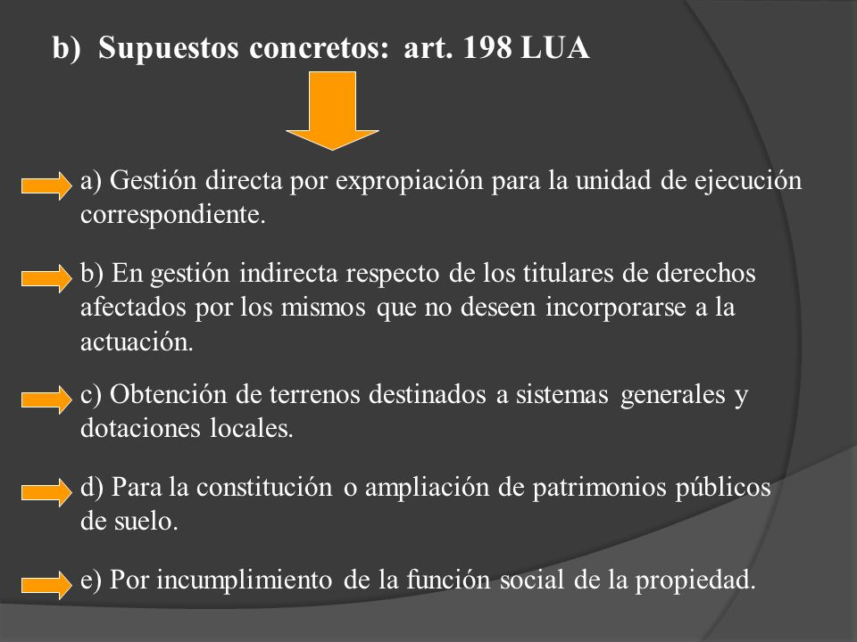 b) Supuestos concretos: art. 198 LUA