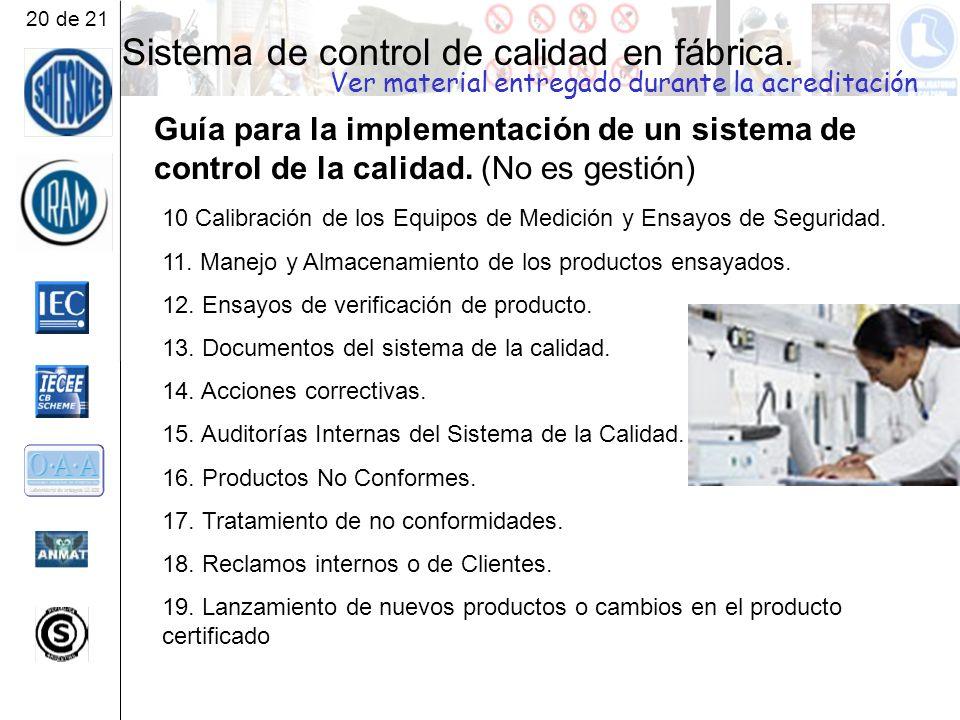 Sistema de control de calidad en fábrica.