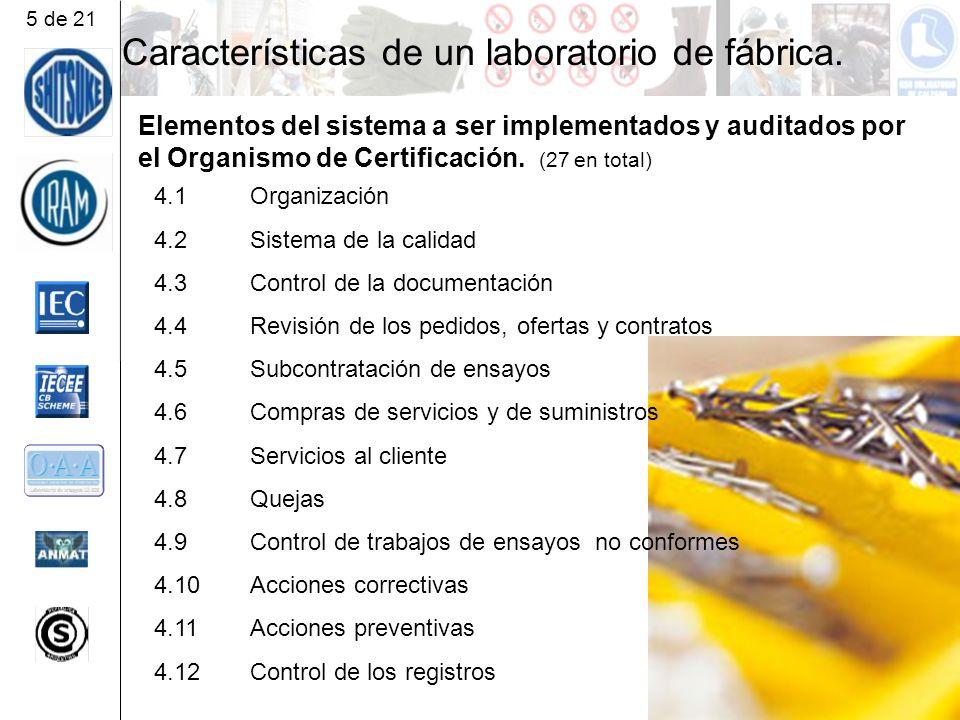 Características de un laboratorio de fábrica.