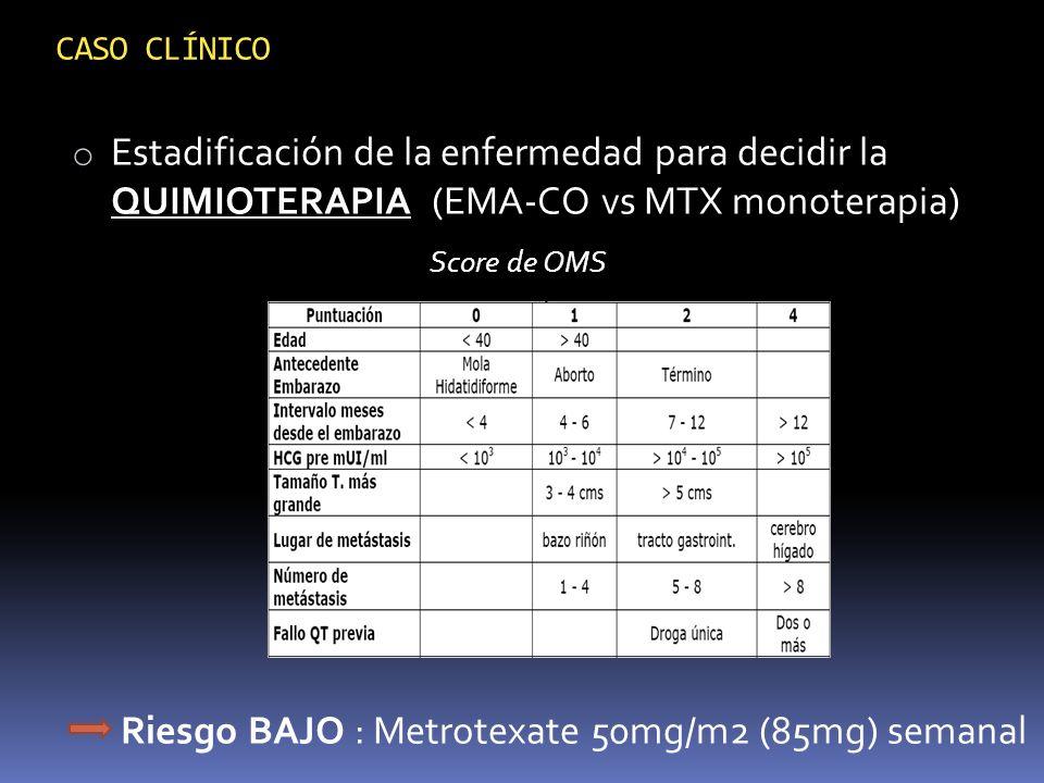Riesgo BAJO : Metrotexate 50mg/m2 (85mg) semanal