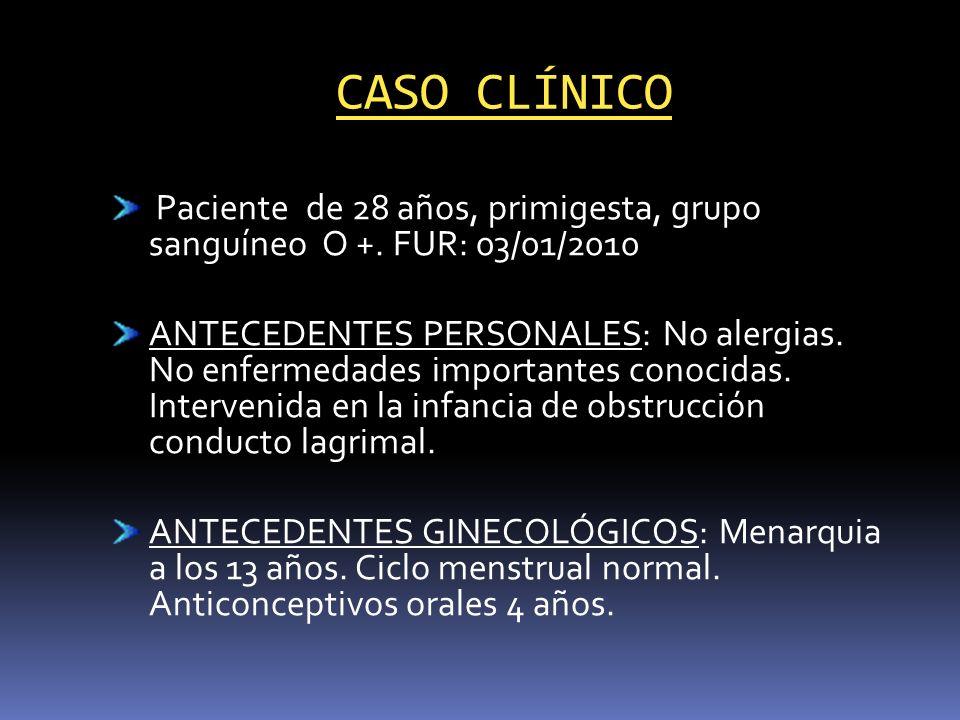CASO CLÍNICO Paciente de 28 años, primigesta, grupo sanguíneo O +. FUR: 03/01/2010.