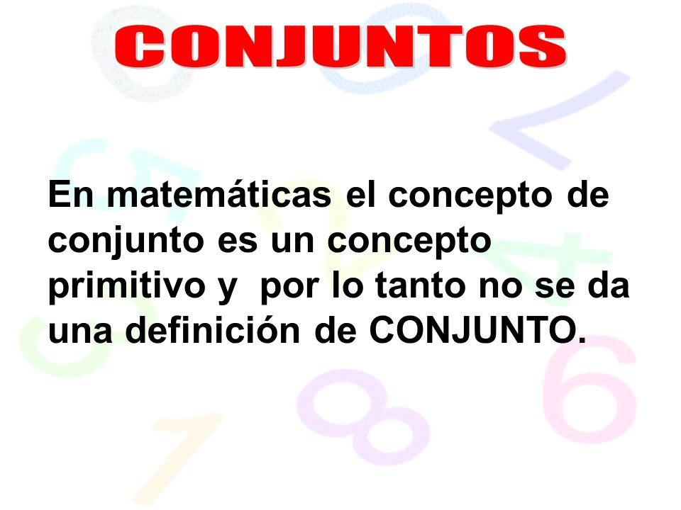 CONJUNTOS En matemáticas el concepto de conjunto es un concepto primitivo y por lo tanto no se da una definición de CONJUNTO.