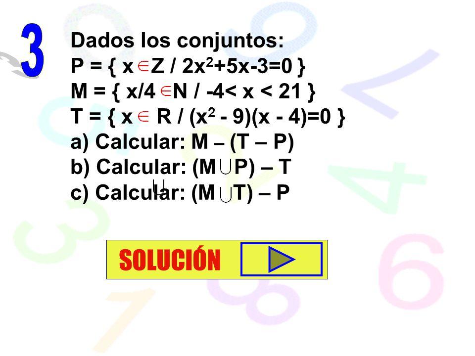 SOLUCIÓN 3 Dados los conjuntos: P = { x Z / 2x2+5x-3=0 }