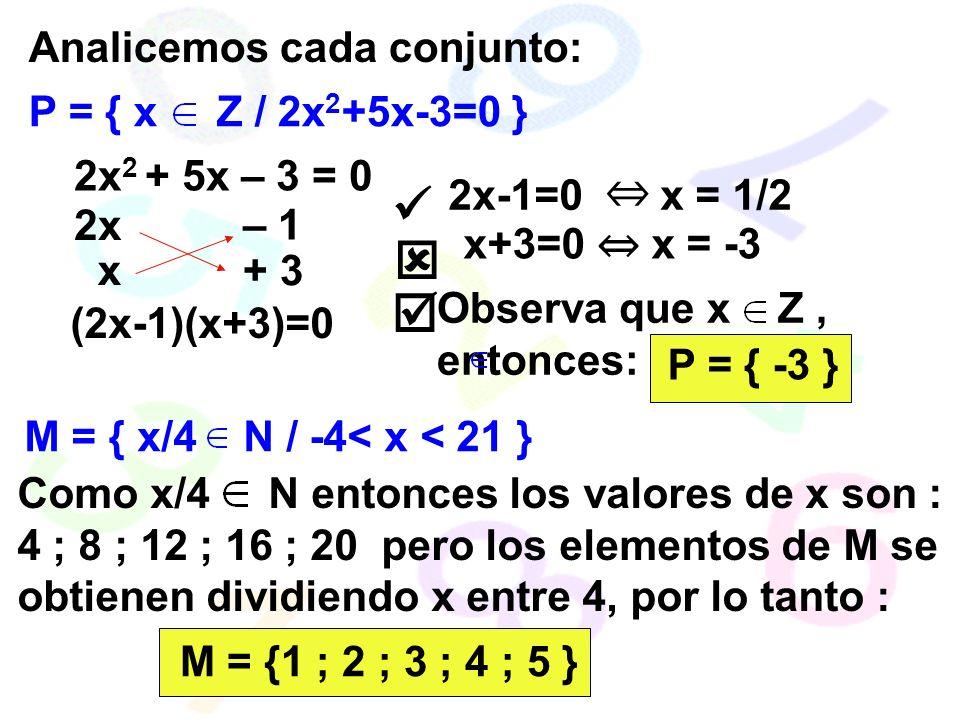    Analicemos cada conjunto: P = { x Z / 2x2+5x-3=0 }