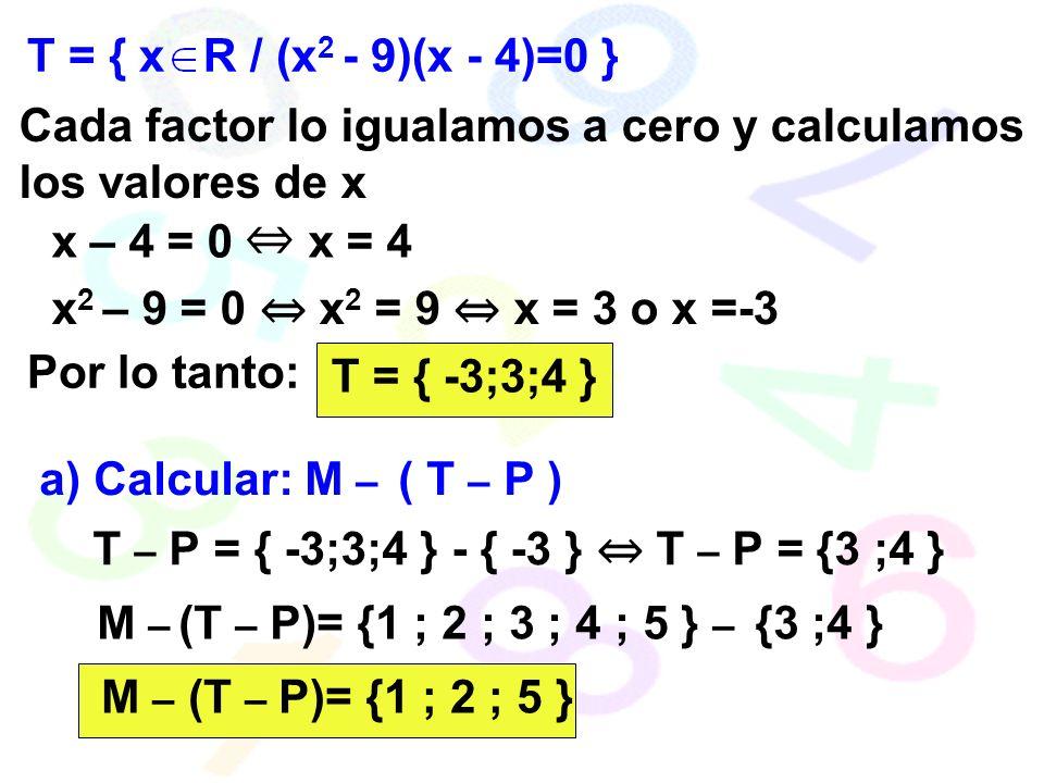 T = { x R / (x2 - 9)(x - 4)=0 } Cada factor lo igualamos a cero y calculamos los valores de x. x – 4 = 0 ⇔ x = 4.