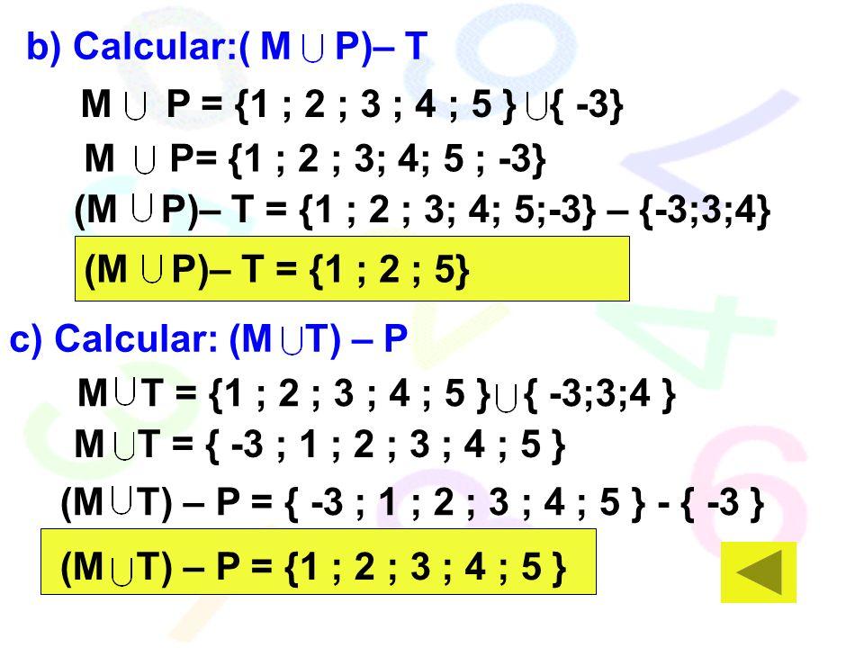 b) Calcular:( M P)– T M P = {1 ; 2 ; 3 ; 4 ; 5 } { -3} M P= {1 ; 2 ; 3; 4; 5 ; -3} (M P)– T = {1 ; 2 ; 3; 4; 5;-3} – {-3;3;4}