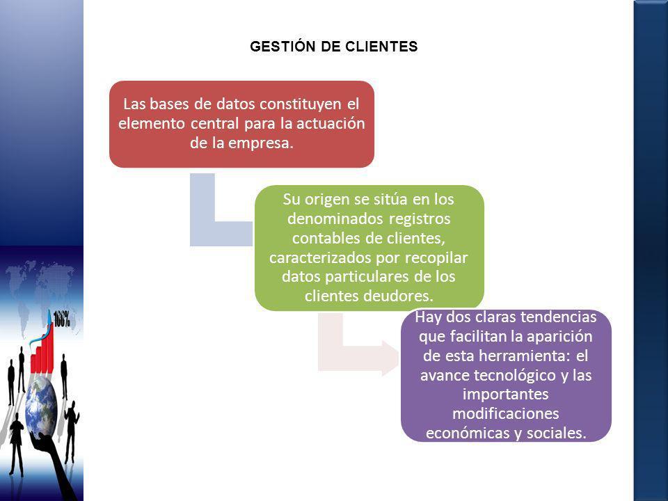 GESTIÓN DE CLIENTES Las bases de datos constituyen el elemento central para la actuación de la empresa.