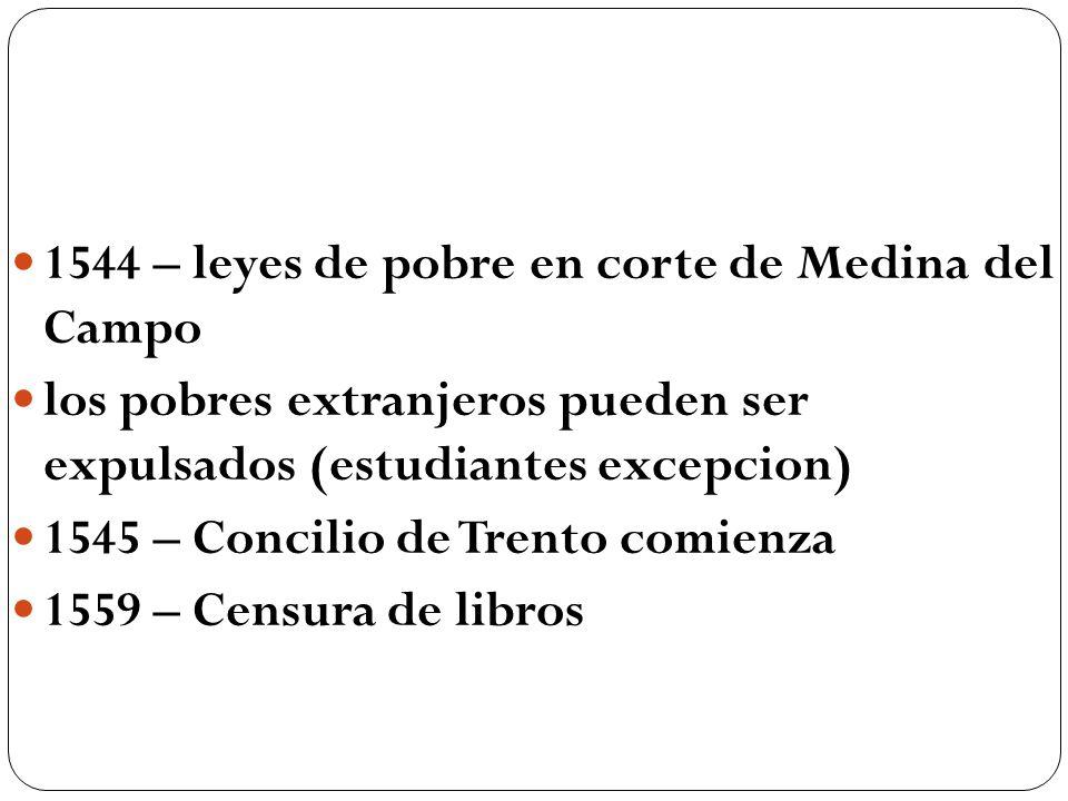 1544 – leyes de pobre en corte de Medina del Campo