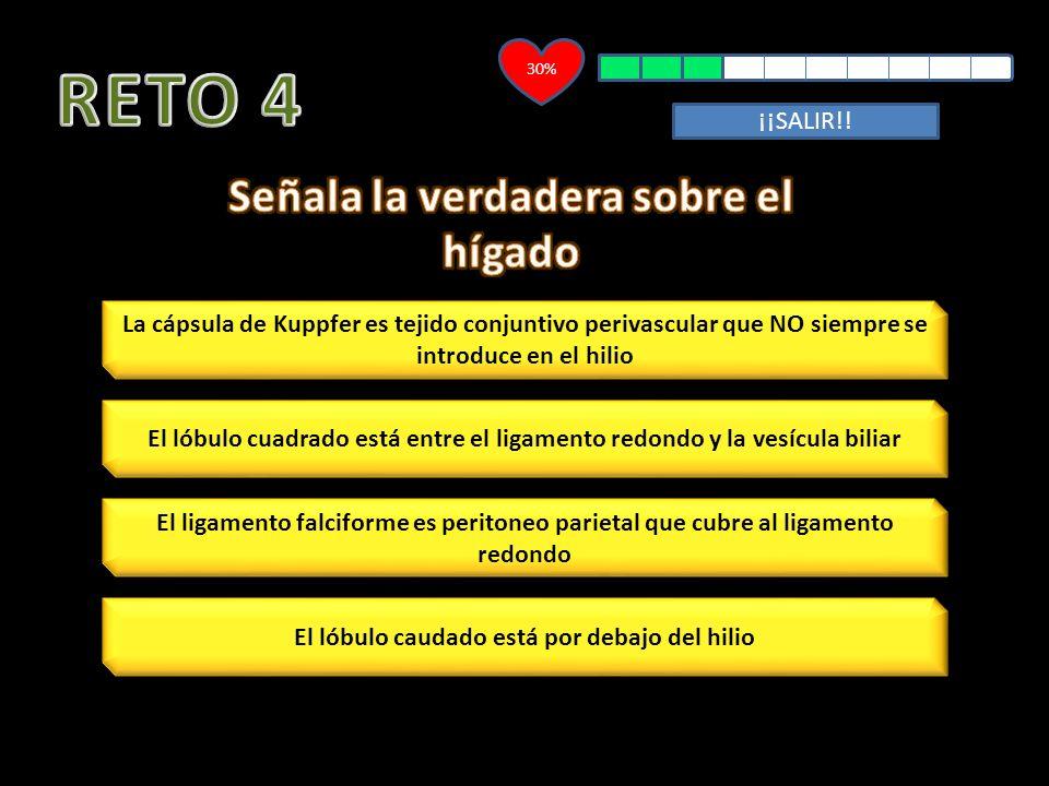 RETO 4 Señala la verdadera sobre el hígado ¡¡SALIR!!